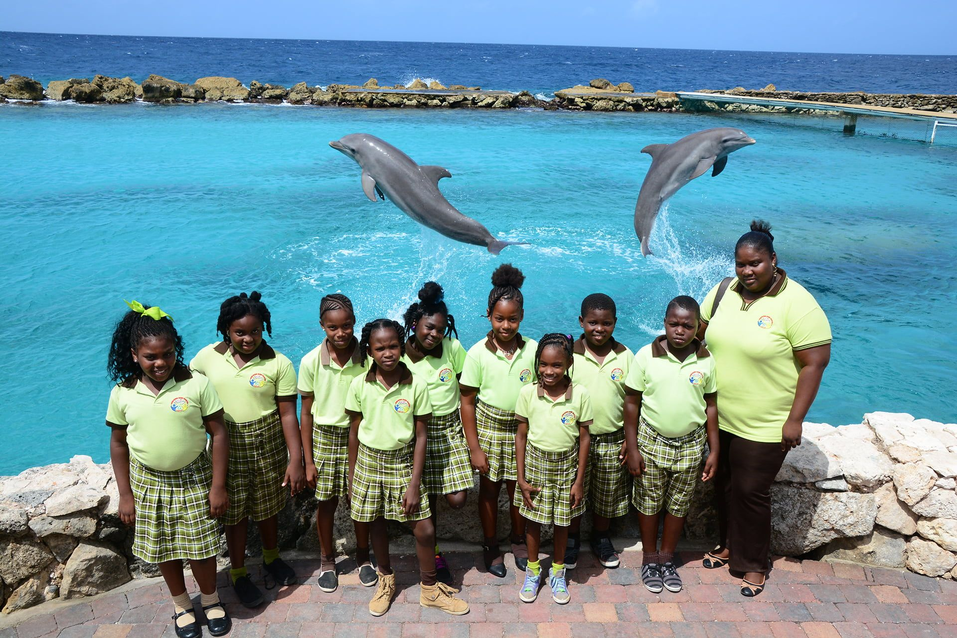 School kids at the Dolphin Academy school project.